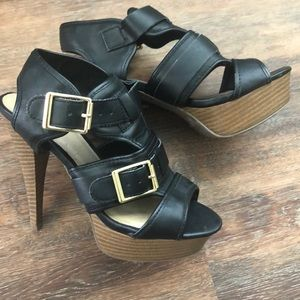 Faux Leather Heels with Gold Buckles